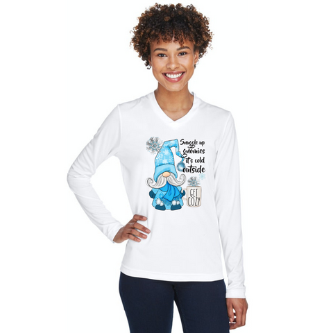 Snuggle up Gnomies Its cold outside gnome white long sleeve ladies tshirt