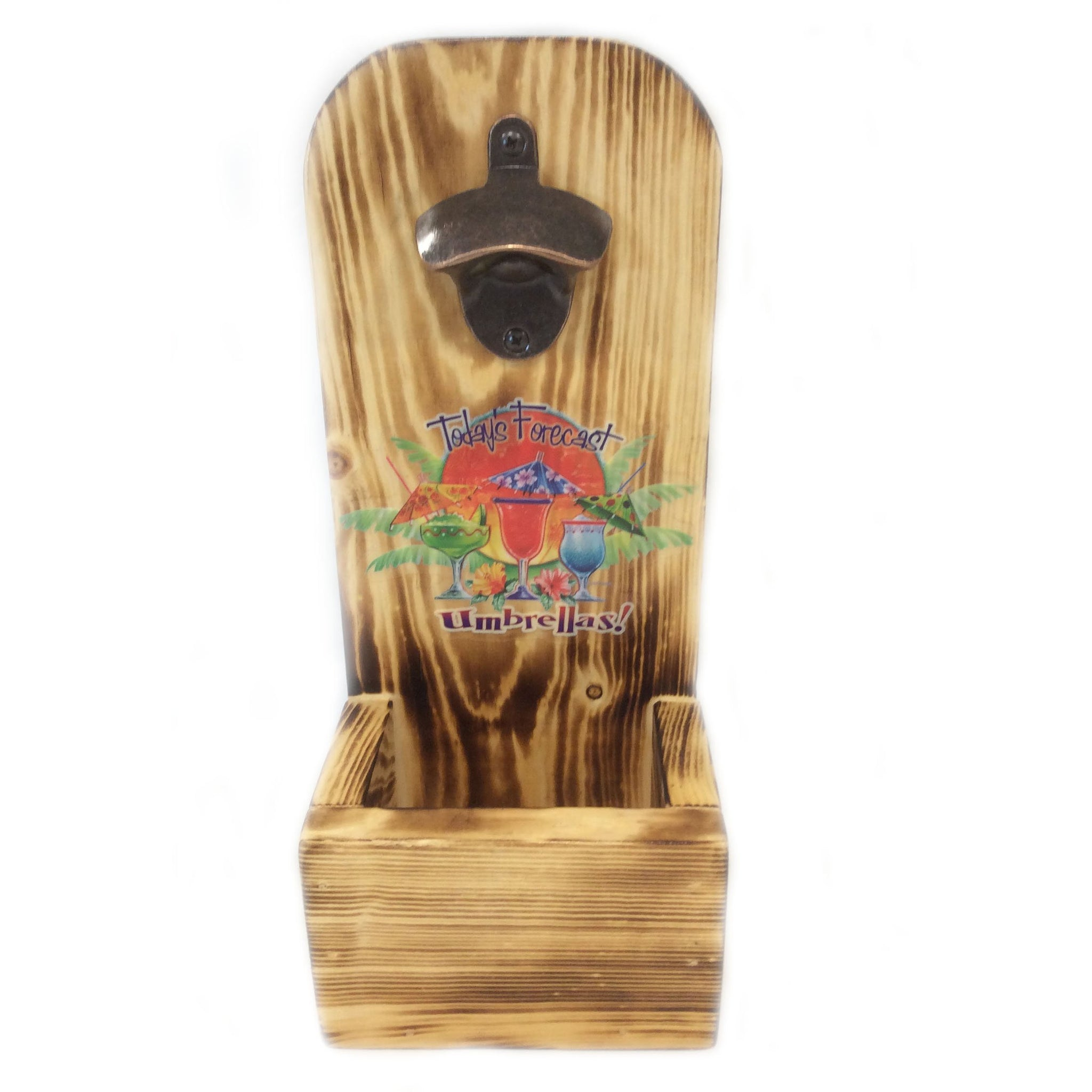Wall Mounted Wooden Bottle Opener Tropical Forcast