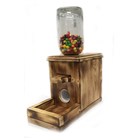 Wooden Tabletop Candy Dispenser for glass bottle candy holder
