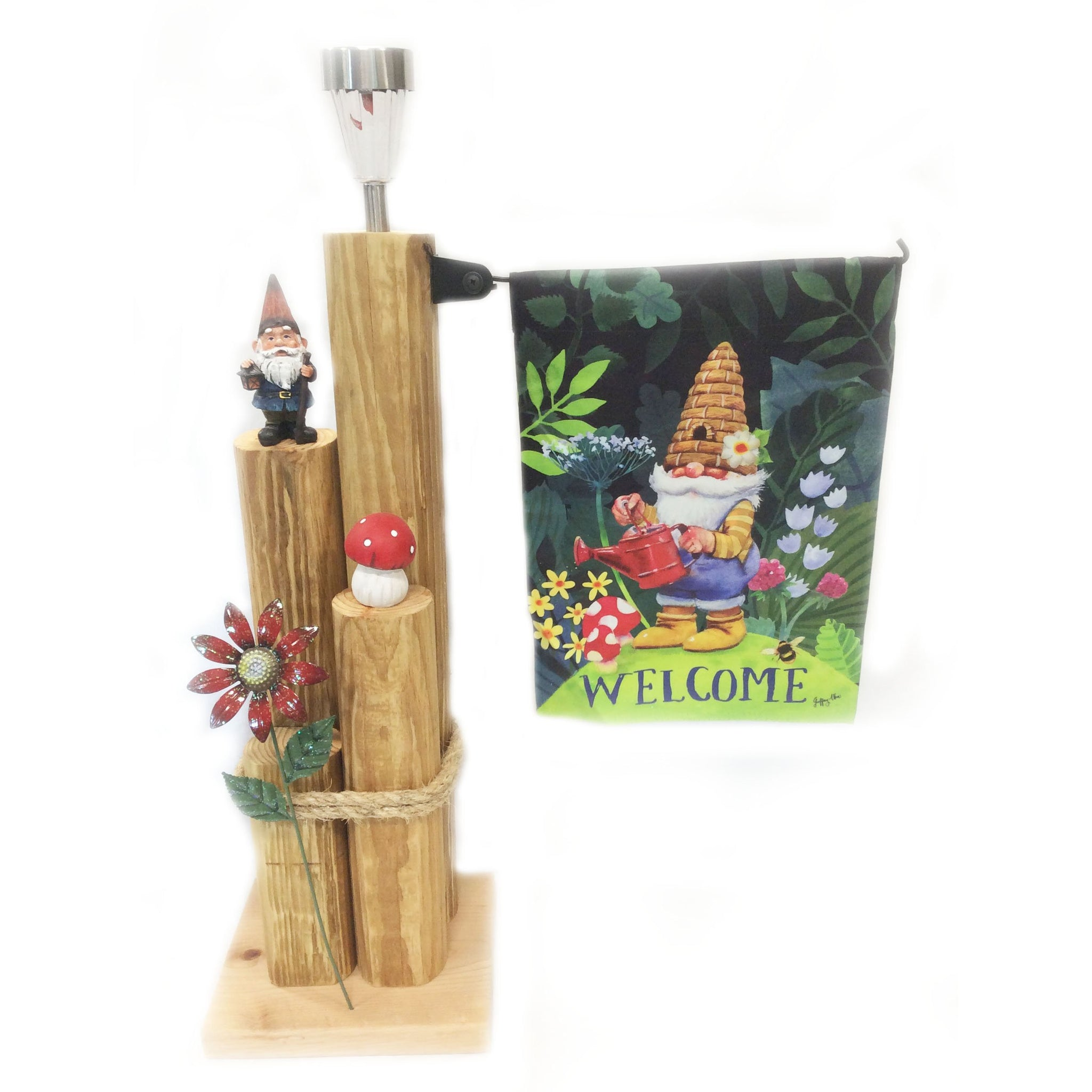 Wooden Solar Light Landscape Timber Garden Lamp Post Featuring Gnomes