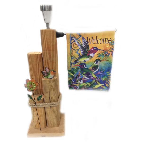 Wooden Solar Light Landscape Timber Garden Lamp Post Featuring Hummingbirds