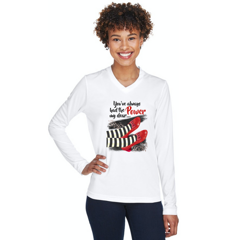 You've always had the power my dear red slippers ladies white long sleeve vneck tshirt