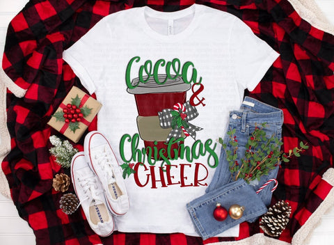 Cocoa and Christmas Cheer Ladies Long Sleeve Vneck Sublimination 100% Polyester White Tshirt
