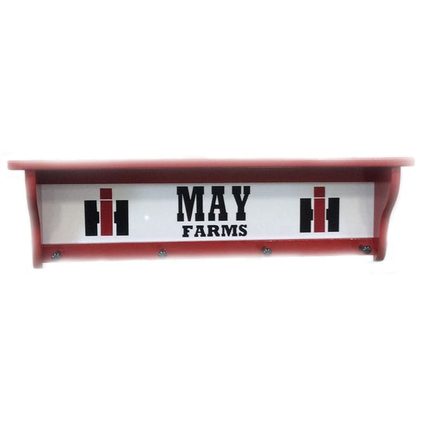 Personalized Red Farm Coat hanger shelf