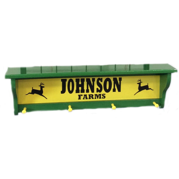 Personalized Green Farm Coat Rack Shelf