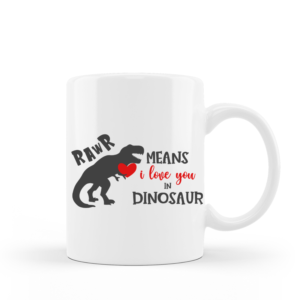 Rawr Means I Love You In dinosaur Valentines Day Gift 15 oz Ceramic Coffee Mug