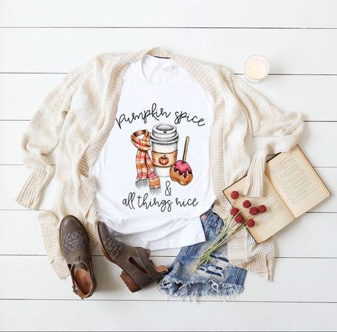 Pumpkin Spice and All Things Nice Ladies Long Sleeve Vneck Sublimination 100% Polyester White Tshirt