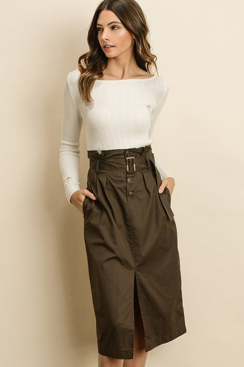 Brynna High Waist Belted Skirt Olive