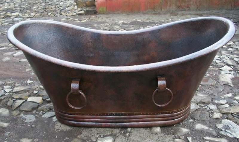 16 Gauge 66 or 72 inch Copper Bathtub, Rivet Base with Rings