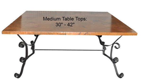 "Medium (30""-42"") Square Copper Table Top Hand Hammered (Lookup Table)"