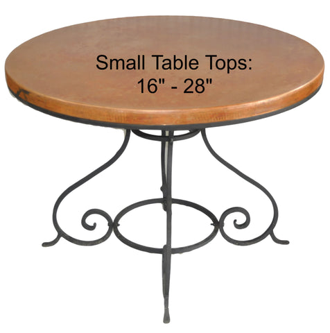 "Small (16""-28"") Round Copper Table Top Hand Hammered (Lookup Table)"
