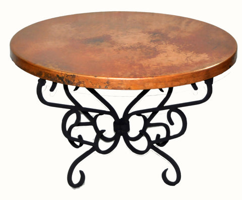 Round Copper Table Top, Natural with Spots