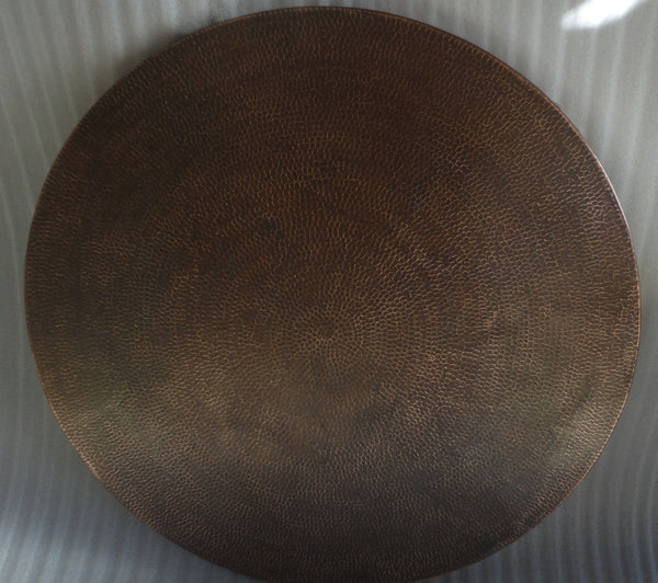 Round Copper Table Top, Dark Light