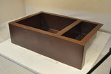 Farmhouse Copper Kitchen Sink 75/25 Double Bowl (33 or 35 Inch, #CFS-7525)