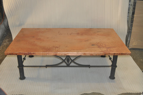 "45"" x 60"" Rectangular Copper Table Top Hand Hammered (Various Colors)"