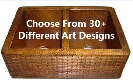 Double Bowl Farmhouse Copper Kitchen Sink 50/50 with Arts (Multiple Designs and Sizes, #CFS-5050ART)