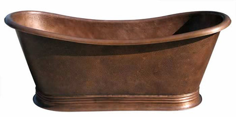 Custom Made Copper Bath Tub with Banded Cove Base ( Various Sizes, #CBT-COVEBASE)