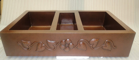 Farmhouse Triple Bowl Copper Kitchen Sink (42 or 45 Inch) with Design