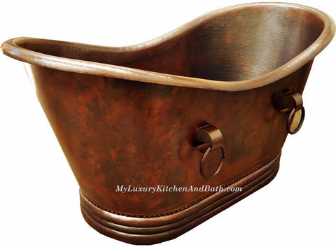 Copper Bath Tub Classic Wave Rings Design ( Various Sizes, #CBT-CWRD)