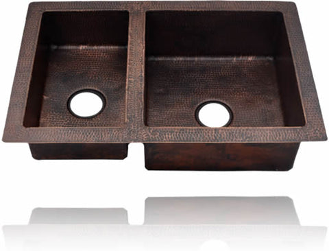 60/40 Undermount or Drop-In Double Bowl Copper Kitchen Sink ( 33 or 35 Inch, #CKS-6040)