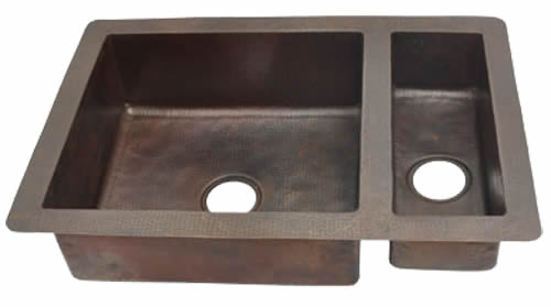 75/25 Undermount or Drop-In Double Bowl Copper Kitchen Sink (33 or 35 Inch, #CKS-7525)