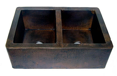 Farmhouse Copper Kitchen Sink 50/50 Double Bowl (33 Or 35 Inch, #