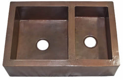 Farmhouse Copper Kitchen Sink 60/40 Double Bowl (33 or 35 Inch, #CFS-6040)