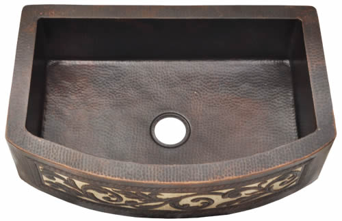 "Copper Round Apron Kitchen Sink Silver Design( 30"", 33"", 36"", Various Colors, #CRFS-SILVER)"