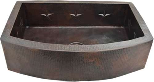 "Copper Round Apron Kitchen Sink Star Design ( 30"", 33"", 36"", Various Colors, #CRFS-STAR)"