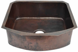 "Copper Kitchen Sink D-Bowl / D-Shape ( 22"" to 36"" Various Colors, #CKS-DBOWL-T33229PH)"