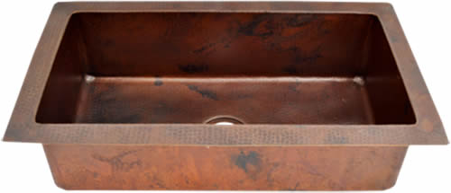 "Undermount or Drop-In Single Bowl Copper Kitchen Sink ( 22"" to 36"" Various Colors, #CKS)"