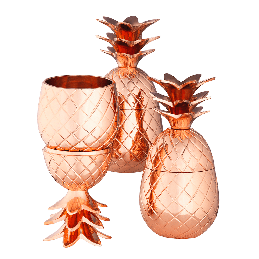 Copper Pineapple Cups Set