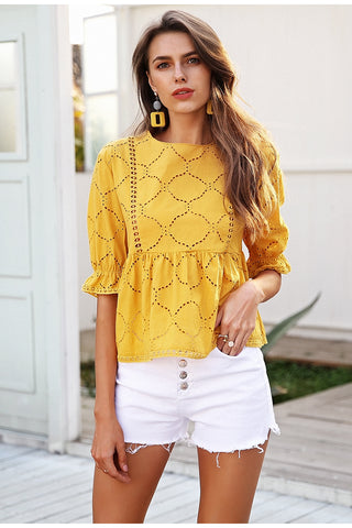 Embroidered O-Neck Blouse