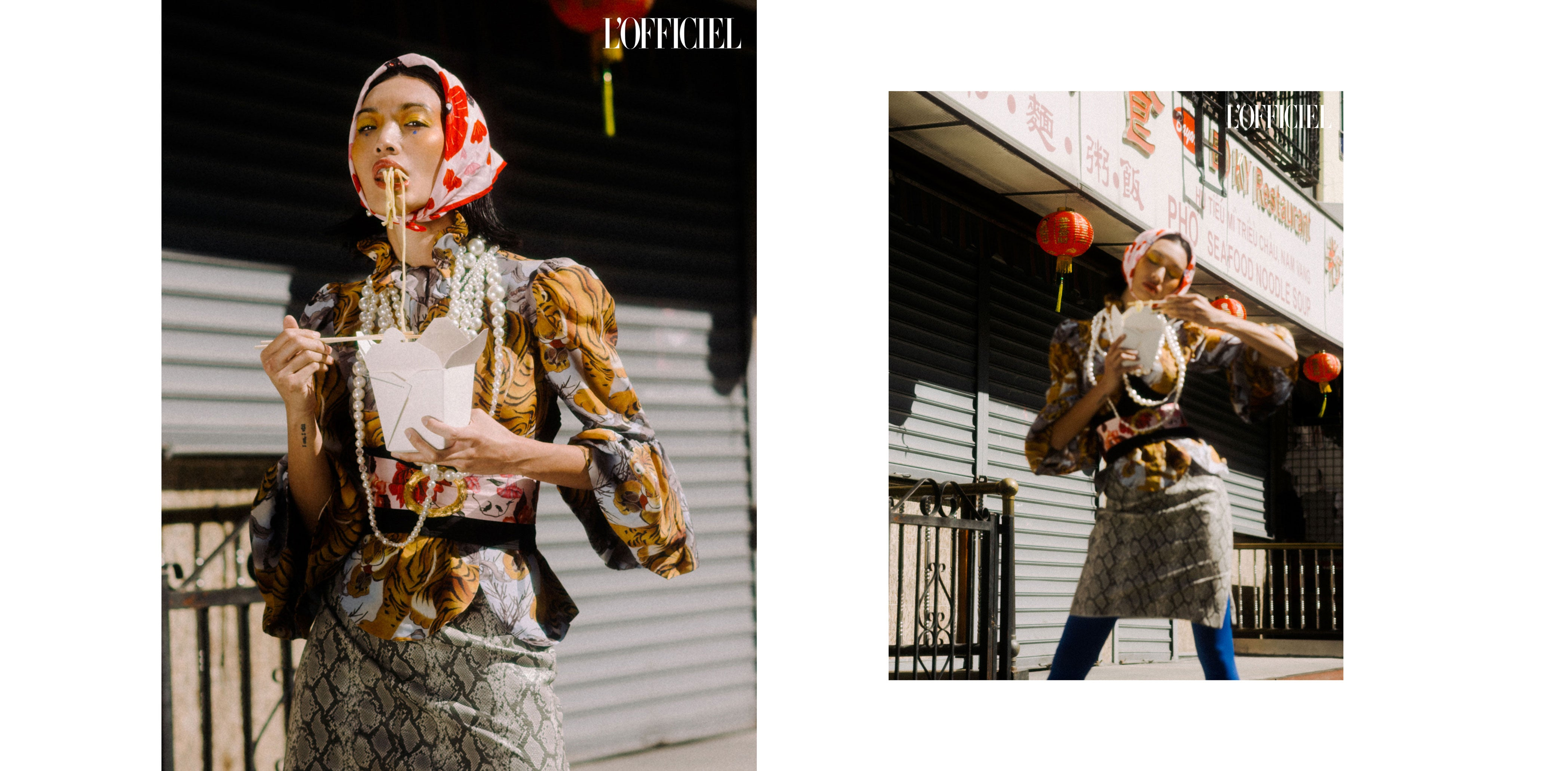 centinelle bandana at L'Officiel fashion editorial chinatown