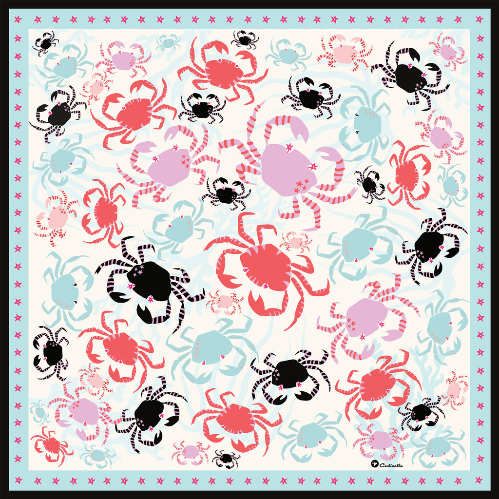 CRABBY  - Silk Medium Square Scarf