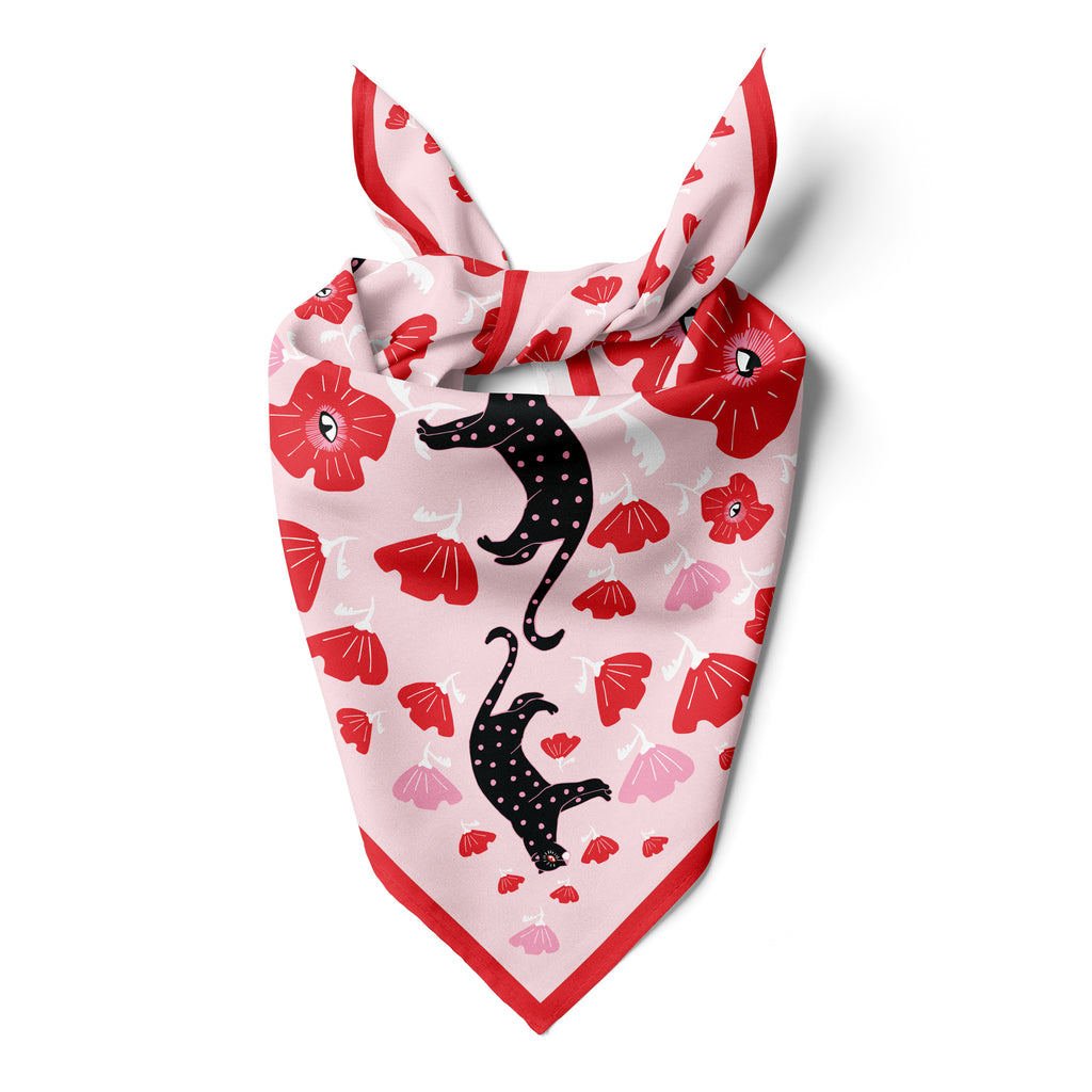 POPPY & POLKA CAT  - Cotton Silk Bandana