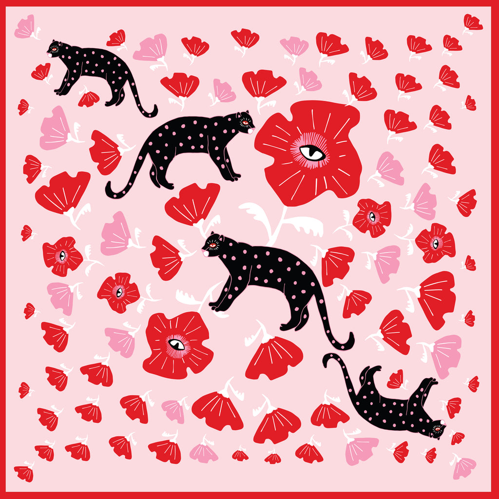 POPPY & POLKA CAT - Silk Large Square Scarf