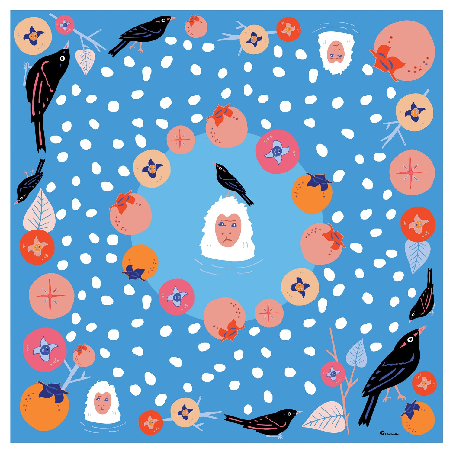 PERSIMMONS AND SNOW MONKEYS IN YUDANAKA  - Silk Medium Square Scarf