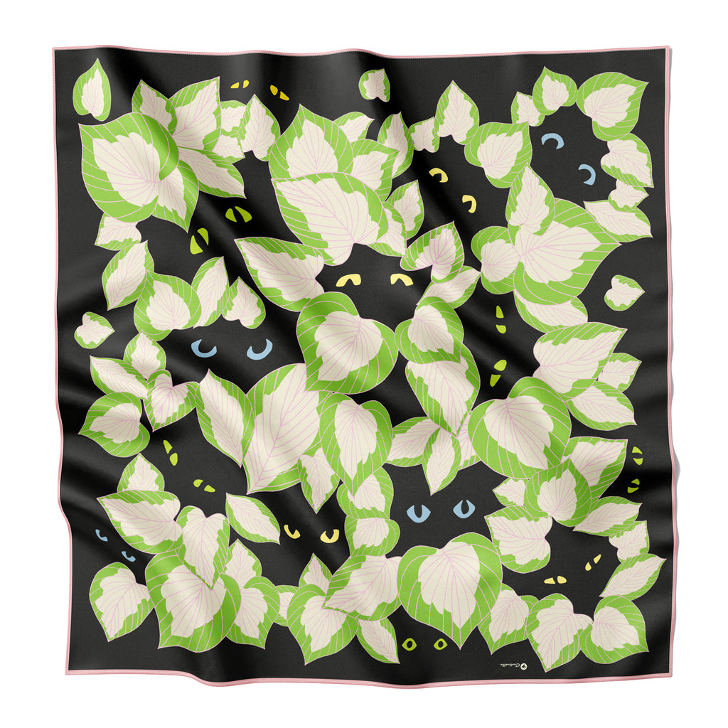 PLANTS AND CATS - Silk Large Square Scarf
