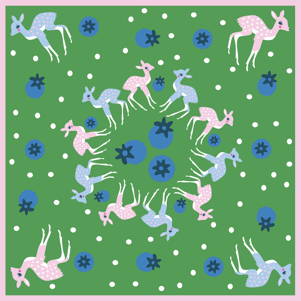 DEER & BLUEBERRIES  - Silk Large Square Scarf