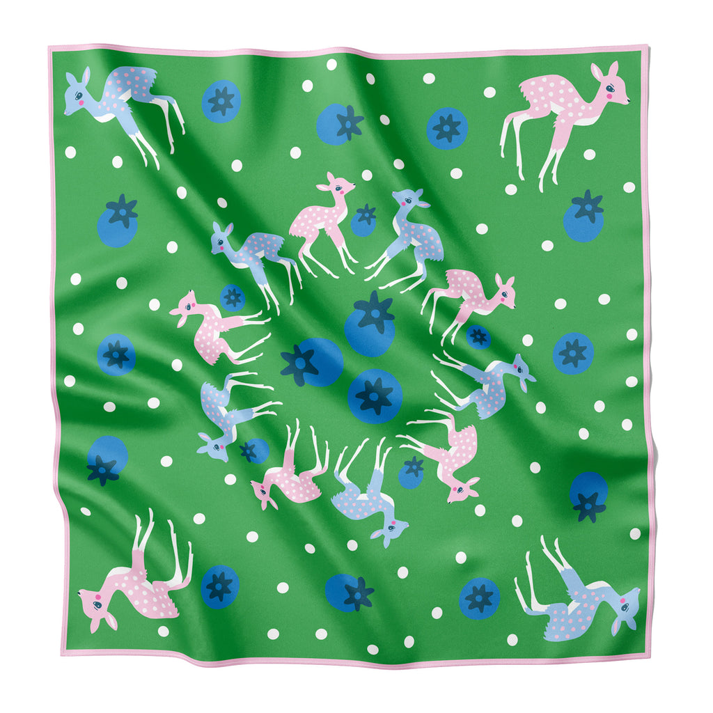 NORTHERN CALIFORNIA DEER & BLUEBERRIES  - Silk Large Square Scarf