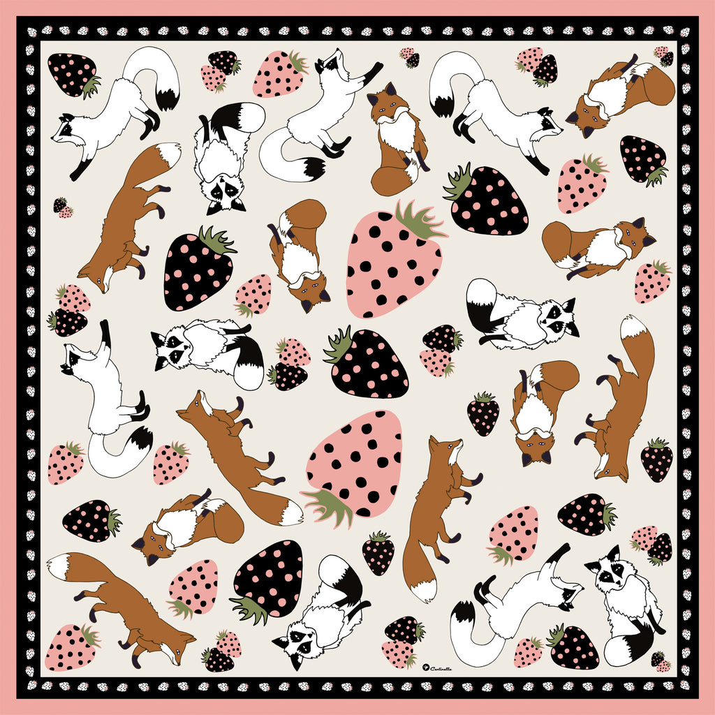 STRAWBERRIES AND FOXES  - Silk Medium Square Scarf