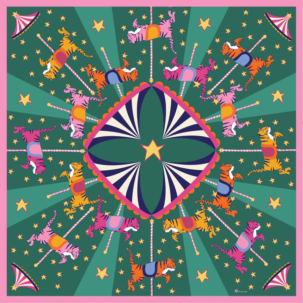 NEON TIGERS CAROUSEL  - Cotton Silk Bandana
