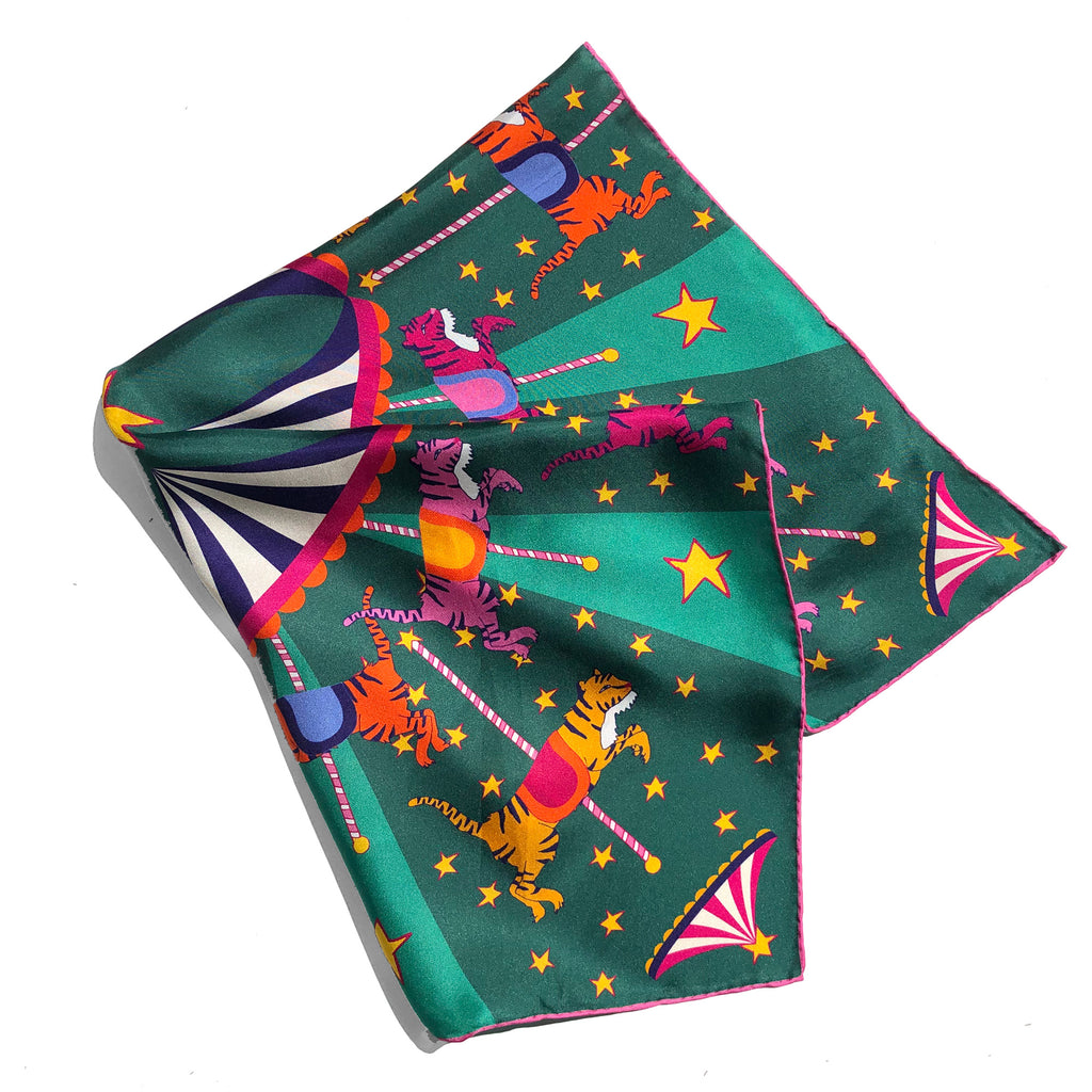 NEON TIGERS CAROUSEL  - Silk Medium Square Scarf