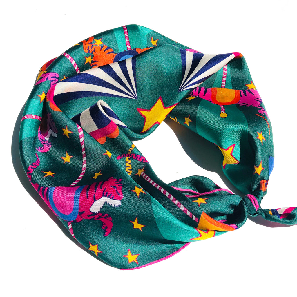 NEON TIGERS CAROUSEL - Silk Large Square Scarf