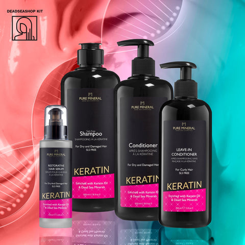 "Keratin Shampoo & Conditioner + <strong><span style=""color: #ff2a00;""><big>2 FREI</big></strong> Leave-In Conditioner & Serum"