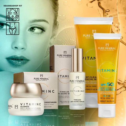 "Anti-Aging-Tagescreme & Serum + <strong><span style=""color: #ff2a00;""><big>2 FREI</big></strong> Gesichtswäsche & Creme SPF-50"