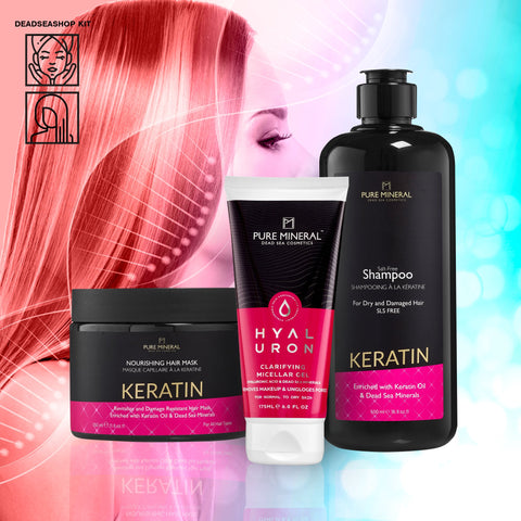 "Keratin Shampoo + <strong><span style=""color: #ff2a00;""><big>2 FREI</big></strong>  Keratinmaske & Mizellengel"