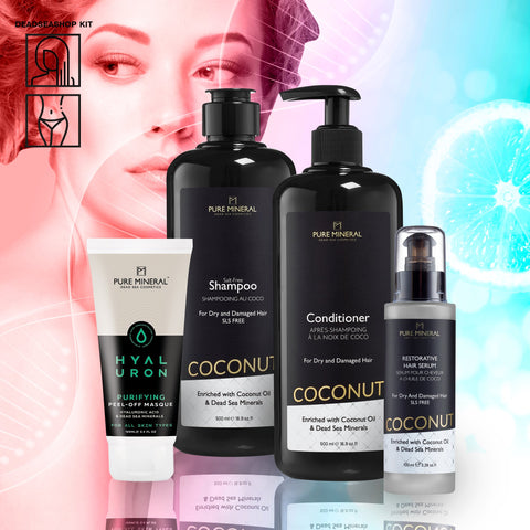 "Kokosnuss Shampoo & Conditioner + <strong><span style=""color: #ff2a00;""><big>2 FREI</big></strong> Gesichtsmaske & Haarserum Abziehen"