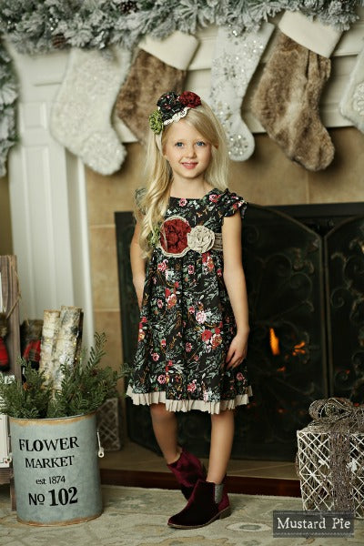 Mustard Pie Winter Floral Delphine Party Dress